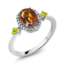 1.24 Ct Oval Orange Red Madeira Citrine Canary Diamond 925 Sterling Silver Ring