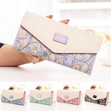 Womens Ladies Envelope Button Clutch Purse Brand Long Handbag Bag Leather Wallet
