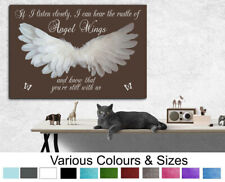 Angel Wings Picture IF I Listen Closely...Quote Canvas Print or Poster Brown