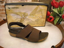Aetrex Hannah Brown Stretch Ankle Strap Comfort Sandal NEW