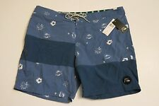 NWT Quiksilver Mens 38 Spaced Out Blue Nylon Board Shorts Surf Hawaii