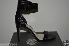 New VINCE CAMUTO Farella Shoes Heels Black Leather Smooth Croc 8 $129 Open Toe