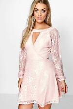 Boohoo Womens Plus Emily Lace Skater Dress