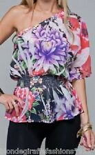 Purple Multi Floral Sublimation One/Off 3/4 Sleeve Smocked Waist Top S M L