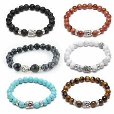 Natural Stone Lava bead 8mm Tibet Silver Buddha Lucky Man Elastic Charm Bracelet