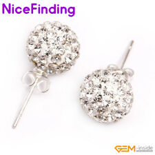 6,8,10mm White Clay Crystal Rhinestone Disco Ball Silver Plated Stud Earrings