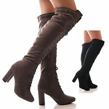 LADIES WOMENS BOOTS LACE UP KNEE HIGH BLOCK HEEL FAUX SUEDE FASHION SHOES SIZE