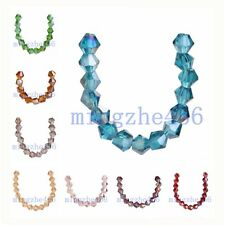 Hot ! 100pcs Faceted Crystal Glass 5301# Bicone Loose Spacer Beads 4mm 70 Colors