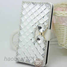 Luxury Wallet Diamonds Bling Bowknot Crystal Flip PU leather Phone Case Cover #W