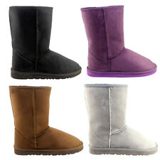 WOMENS SHORT FULLY FUR LINED HARD SOLE CLASSIC WINTER SNOW BOOTS LADIES NEW 3-8