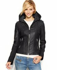 MICHAEL MICHAEL KORS Black Leather Diamond Quilted Hooded Motorcycle Jacket