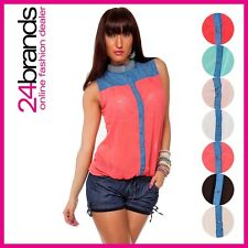 Ladies Business Blouse Shirt with Collar Chiffon Look in 7 colours Size S/M L/XL