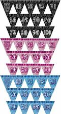 GLITZ RANGE(3 Colours)PRISMATIC TRIANGLE 12' BUNTING FLAG BANNER(Birthday Party)