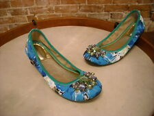 Marc Fisher Green & Blue Floral Jeweled Cadassi Ballet Flats NEW