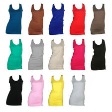 NEW WOMENS RACER BACK LONG JERSEY VEST TOP SIZE 6-12