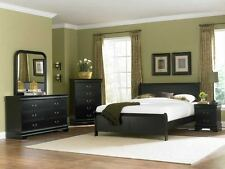 NEW 4PC MARIANNE BLACK WOOD LOW PROFILE COTTAGE TWIN FULL QUEEN KING BEDROOM SET