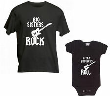 BIG SISTERS ROCK & LITTLE BROTHERS ROLL- SET OF 2 SHIRT AND BODYSUIT - BLACK SET