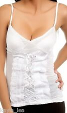 White Lace-Up Front Sleeveless Cami/Tank Top