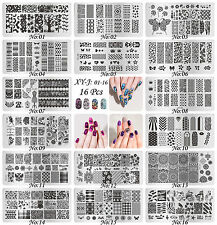 16Pcs Manicure XY-J Nail Stamping Plates Stainless Steel Nail Art Stamp Template