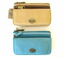 NEW FOSSIL EXPLORER LIGHT TAN+PEACOCK BLUE LEATHER FLAP CLUTCH,WALLET