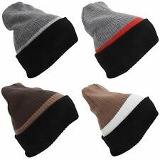 Adults Unisex Reversible Striped Slouch Beanie Hat (4-In-1 Design)