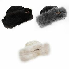 Womens/Ladies Cable Knit Winter Hat With Faux Fur Trim