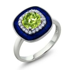 1.59 Ct Round Green Peridot 925 Sterling Silver Ring