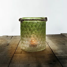 Green Frosted Glass & Jute Tealight Candle Holders or Vases