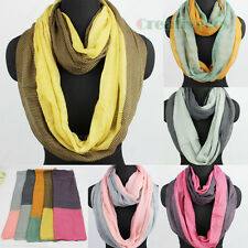 Fashion Women's Plaids Dot Stitching Infinity Loop Cowl Eternity Casual Scarf