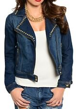 Stud Embellished Blue Lightly Distressed Washed Denim Jean Jacket XS S M L