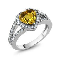 2.31 Ct Heart Shape Yellow Citrine 925 Sterling Silver Ring