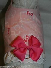 DOG CAT FERRET Harness~Pretty Pink & White Classic HELLO KITTY w/ BOW & LACE