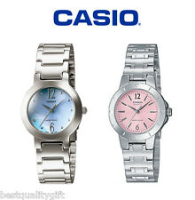 NEW CASIO POLISHED SILVER TONE BAND+PINK,BLUE MOTHER OF PEARL DIAL WATCH+TAG