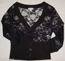 Black Button Up Sheer Mesh Stretch Lace 3/4 Sleeve Cardigan Style Top