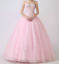 New Sweet 16 Pink Quinceanera Dresses Ball Gown Beading Prom Pageant Dresses