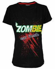 Darkside Zombie's Eat Flesh Womens Fitted TShirt Top Tee Punk Rock Tattoo Brains
