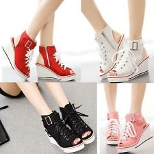 New Womens Peep Toe Platform Canvas Sandals Wedge Heel Sneakers High Top Shoe US