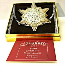 1999 Gorham Sterling Silver Snowflake Christmas Ornament with Original Box and P
