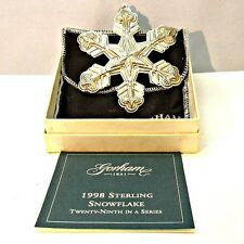 1998 Gorham Sterling Silver Snowflake Christmas Ornament with Original Box and P