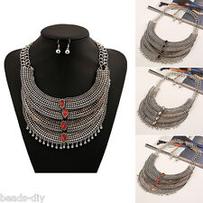 1 Set BD Silver Tone Retro Exaggerated Tassel Multilayer Earrings Necklace 45cm