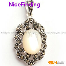 Fashion Women Jewelry Charm Pendant+Chain Marcasite Silver Plated Valentine Gift