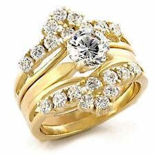 Stunning 2.30 Ct Round Brilliant Cut Cubic Zirconia 14k Gold Plated Wedding Ring