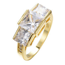 Pure CZ Wedding Band White Crystal Women's 10K Yellow Gold Filled Ring Size 6-10