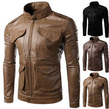 New Mens Slim Fit Stand Collar PU Leather Jacket Motorcycle Coat Tops Outwear