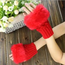 Women Faux Rabbit Fur Hand Winter Fingerless Gloves Mittens Half Finger Gloves
