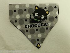 DOG CAT FERRET REVERSIBLE Over Collar Bandana~Gray & Black Polka Dot BLACK Cat