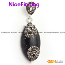 Fashion Jewelry Necklace Pendant Oval Beads Marcasite Silver Plated Xmas Present