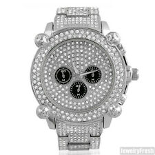 Silver Jumbo Chrono Full Iced Out Mens Hip Hop Bling Watch