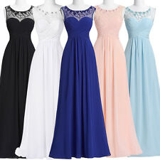 New Chiffon Dress Long Evening Party Prom Ball Gown Bridesmaid Pageant Dresses