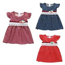 Cute Kids Baby Girl Summer Dress Toddler Child Sleeveless Lace  Polka Dots Dress